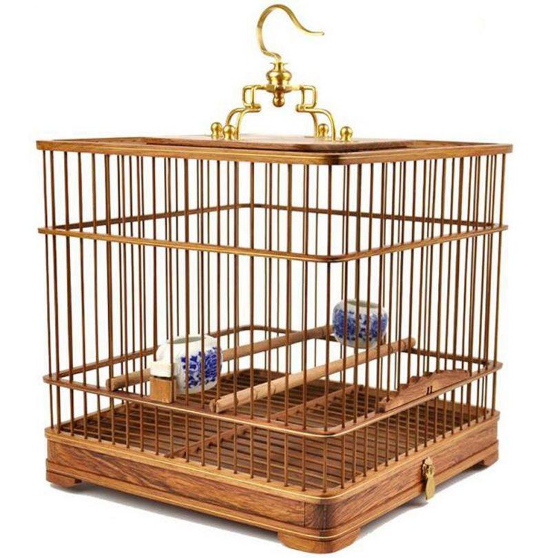 cage oiseau en bois